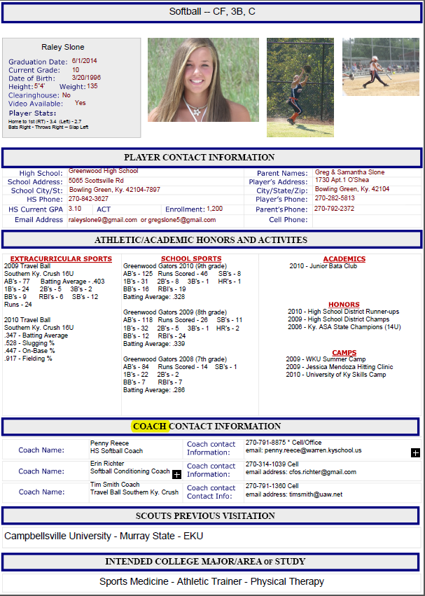 college softball recruiting letter template  software free